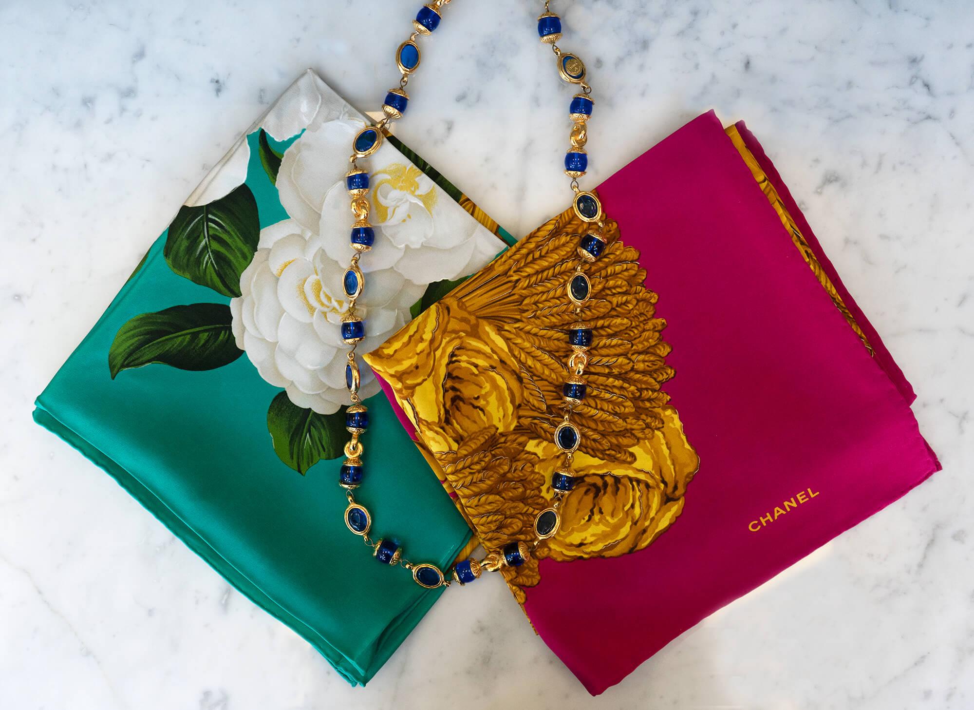 image of jewel tone scarves