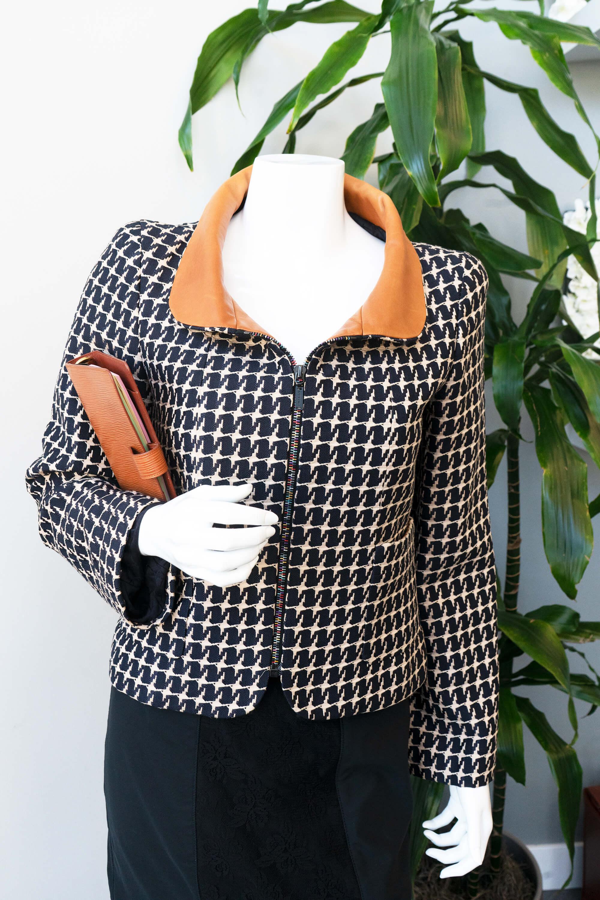 image of houndstooth print jacket fall fashion