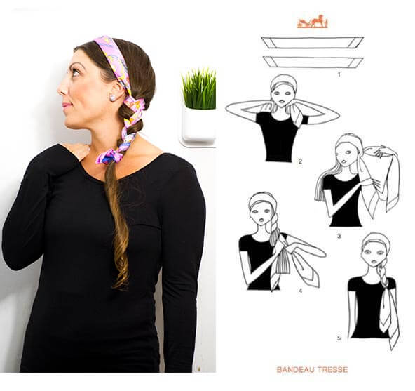 image of scarf braided in hair